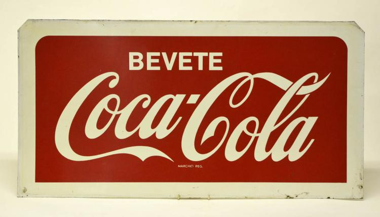 1960s_Double-Sided_Italian_Screen Printed_BeveteCoca-ColaSign