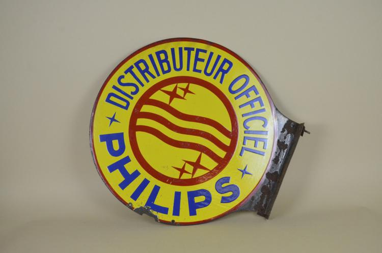 1950s-Vintage-French-Round-Double-Sided-Advertising-Philips-Enamel-Metal-Sign