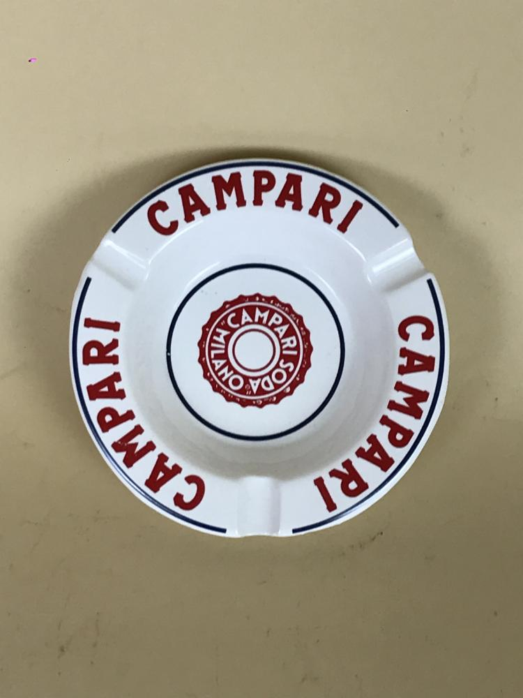 1970s-Vintage-Advertising-Campari-Soda-Milano-Ashtray-White-Red-Ceramic