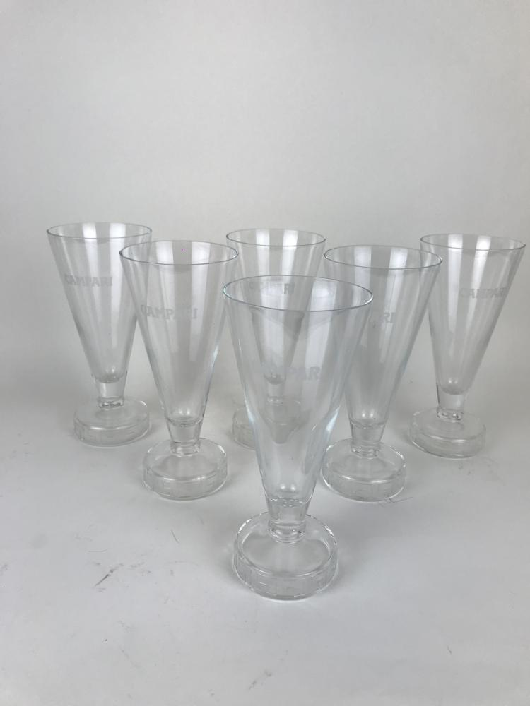 1980s Set of Six Exclusive Campari Long Drink Glasses Greca Style by Thun Design