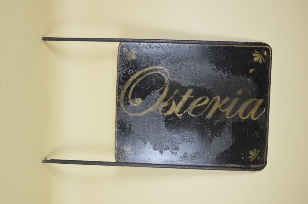 1920s-Italian-Vintage-Hand-Painted-Double-Sided-Blade-Sign-Osteria-Restauran