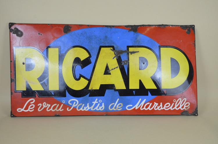 1930s-Vintage-French-Enamel-Metal-Ricard-Pastis-Advertising-Sign
