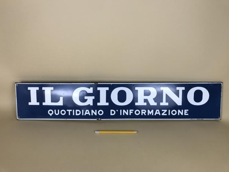 "1960s Italian Enamel Metal ""Il Giorno Quotidiano d'Informazione"" Newspaper Sign"
