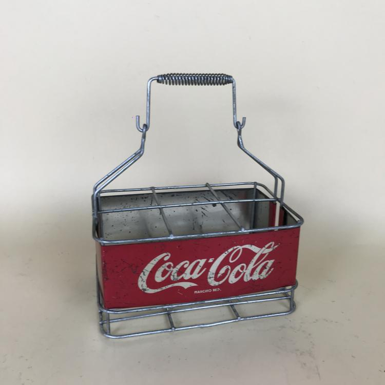 1960s Italian Vintage Advertising Metal Coca-Cola Bottle Basket